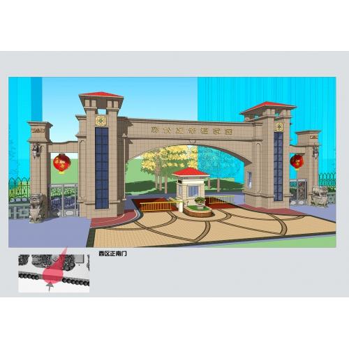 二个大气风格小区大门设计全套资料,大门设计全套资料,小区大门精品案例,精品小区大门、园林景观设计案例、小区大门设计素材