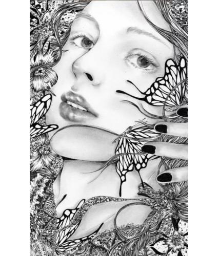 细密线条手绘美女设计,插画优秀案例