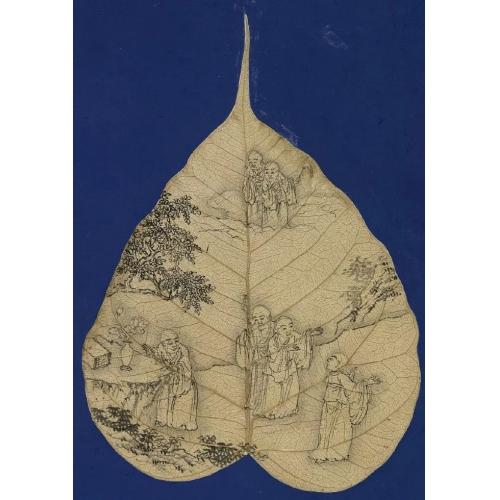 菩提叶白描画案例,老年绘画手工案例、老年艺术精品案例